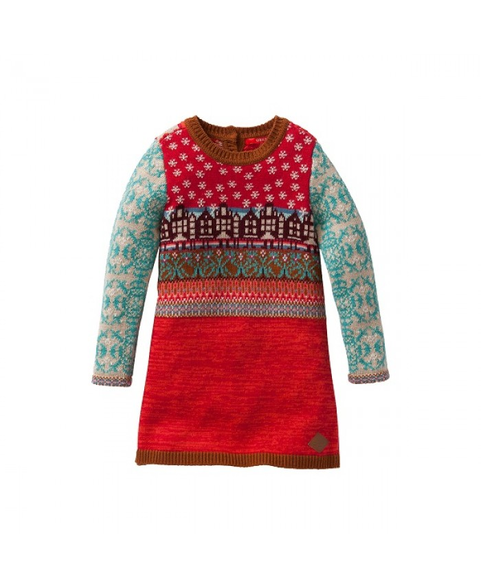 Oilily knitted dress Kasja red houses